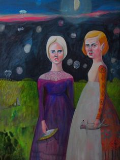 Original painting acrylic on canvas Moon sisters