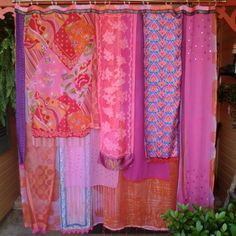 Bright and vibrant hot pink and orange gypsy shower curtain by Babylon Sisters ala ETSY! this would go great in my hot pink bathroom.oh yeah Bohemian Shower Curtain, Cute Shower Curtains, Gypsy Curtains, Patchwork Curtains, Kitsch, Plywood Furniture, Gypsy Living, Boho Life, Bohemian Decor