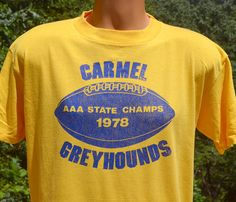 vintage 70s t-shirt CARMEL high school GREYHOUNDS by skippyhaha