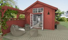 While historic within idea, the actual pergola have been having a bit of a contemporary Swedish Cottage, Red Cottage, Swedish House, Timber Roof, Micro House, Tiny House Design, Abandoned Houses, Building A House, Pergola