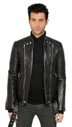 Mens Stylish Motorcycle Biker Genuine Lambskin Leather Jacket 420