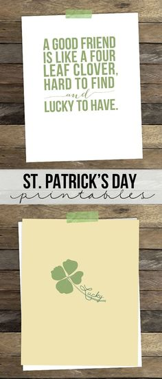 Love these St. Patrick's Day printables. Perfect for gifting to an irish friend too!