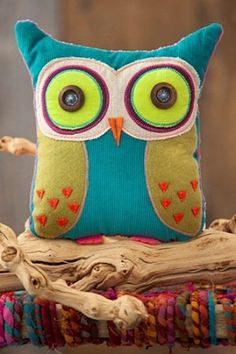 You Are Loved Owl Teal and Lime Green Shaped Pillow by Natural Life - Amazon $34