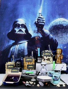 The snack buffet you've been looking for — with Kessel Run Kettle Corn and Ice Pop Lightsabers — for your Star Wars marathon watch party. Get all the party tips from @justjennrecipes