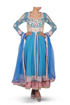 A Robin Blue Embroidered in Silver Anarkali Suit