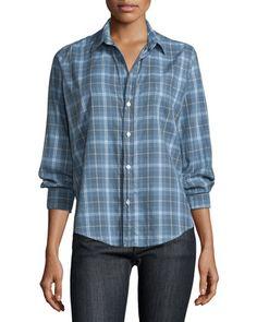 Frank & Eileen Barry Long-Sleeve Plaid Shirt, Blue/Gray