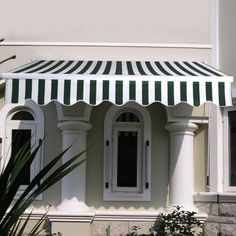 Apontus Retractable Patio Awnings 6.4ft ? 5ft (Green White)