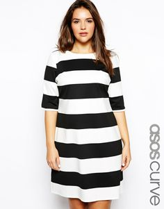 ASOS CURVE Exclusive Shift Dress In Wide Stripe