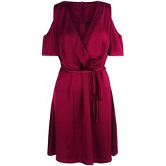 Burgundy Sateen Cold Shoulder Wrap Front Dress ($28) ❤ liked on Polyvore featuring dresses, wrap front dress, purple dress, cutout shoulder dresses, cold shoulder dress and open shoulder dress