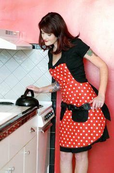 Minnie Mouse disney polka dot apron.  I like the design of this apron.  I think I could make it.