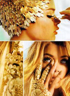 Gold / stunning. love the head piece. photos by mario testino.