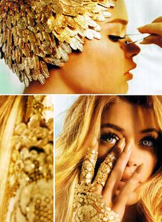 Gold / stunning. love the head piece. photos by mario testino.