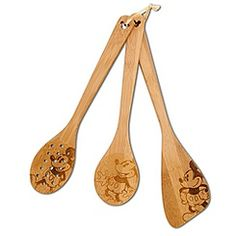 Bamboo Mickey Mouse Utensil Set -- 3-Pc.