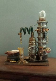 OOAK 1:12 Scale Dollhouse Miniature Grungy Creepy Science Laboratory Experiment