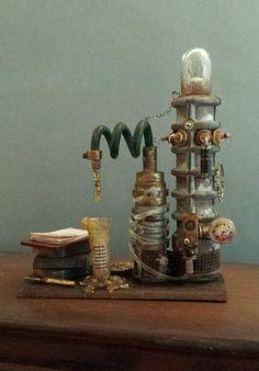 OOAK 1:12 Scale Dollhouse Miniature Grungy Creepy Science Laboratory Experiment