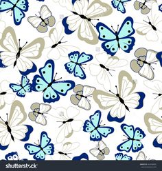 seamless butterflies Sharp Prints, Elephant Tapestry, Printable Scrapbook Paper, Creative Textiles, Big Flowers, Stock Foto, Bro, Aztec, Illustration