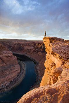 Horseshoe Bend, Arizona; (self-portrait) photo by Mac Danzig