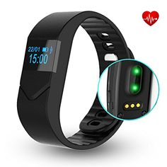 EIISON Fitness Tracker with Heart Rate monitor E5S Activity Watch Step Walking Sleep Counter Wireless Wristband Pedometer Exercise Tracking Sweatproof Sports Bracelet for Android and iOS Black * Click image to review more details.