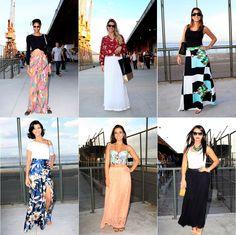 Pernas à mostra? Não foi essa a aposta da maioria das fashionistas que passaram pelo Píer Mauá nesse primeiro dia de desfiles da Fashion Rio – inverno 2013. Lisa, estampada, de renda, as saias longas foram o hit do dia.
