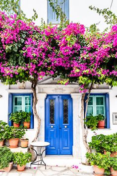 2 Days in Tinos Greece What to Do and See on the Island - Tgage Calculator - How VA Loan works? - House with a blue door and pink flowers in the village of Pyrgos on the island of Tinos in Greece Best Greek Islands, Greece Islands, Tinos Greece, Greece House, Colorful Garden, Colorful Houses, Garden Gates, Container Gardening, Gardening Vegetables