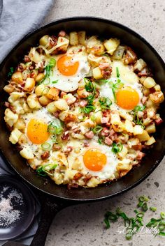 Cheesy Bacon And Egg Hash | http://cafedelites.com