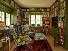 Floor to ceiling painted bookcases help to create a beautiful space to read and reflect in this arts & crafts house. Custom Made Furniture, Home Furniture, Arts And Crafts House, Kitchens And Bedrooms, Home Libraries, Cozy Nook, Piece A Vivre, Bedroom Wall, Home Interior Design