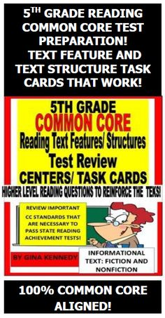 AUTHENTIC HIGHER LEVEL 5TH GRADE READING COMMON CORE TEST REVIEW TASK CARDS!  I have included sixteen fiction stories, poems, plays, informational text articles and more to help 5th graders prepare for their state reading achievement tests. After reading each task card's literature component, the students will complete follow-up activities that require the students to analyze the literature's important reading text structures and text features.