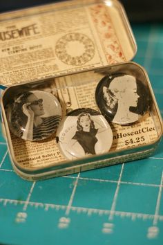 Altoid tins make for great altered items.  This holds some altered magnets, but I love to use them for small quotes to give to friends.
