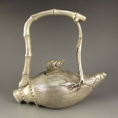Chinese White Copper Bamboo Teapot w Kang Xi Mark