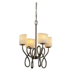 Justice Design Group FSN-8910 - Capellini 4 Light Chandelier - Oval Shade - Brushed Nickel with Opal Shade - FSN-8910-30-OPAL-NCKL
