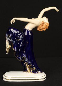 Vintage German Art Deco Porcelain Nude Figurine Walendorf Hutschenreuther Kuns