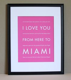 Miami Art Travel Quote I Love You From Here To Shown In Teal Poster Free U S Shipping