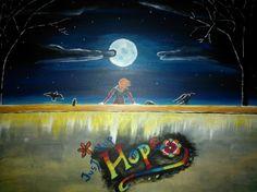 Sandra Chapdelaine (©2014 artmajeur.com/sandra-chapdelaine) Acrylique sur toile. Don pour la cause du Lac Mégantic. Il y a 47 étoiles, une pour chaque victimes et un message d'espoir pour les survivants. Sur son mur, la jeune fille tourne le dos au carnage, au passé, pour se tourner vers l'avenir, pleine d'espoir.