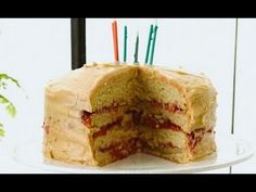 Oh my. Ummmm. Gluten Free Birthday Cake with  Peanut Butter and Merlot Jelly! Might make this for myself this year... or next year... whenever I end up getting my stand mixer, that is.