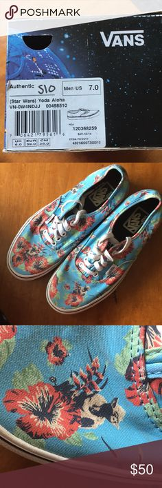 Authentic Star Wars Yoda Aloha Vans Hi!!! These are Authentic Yoda Aloha (Star Wars) Vans. They are a men's size 7 shoe. These are in excellent shape with very minimal wear. They are multi colored blue, red, green, black and white shoes with a waffle sole that does not show any wear. You can see Yoda on the canvas but he blends in so well you wouldn't know it's him without looking. This is a fun shoe that coordinates with a lot of outfits. Great spring/summer shoes! Shoes come with the box…