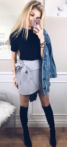 #winter #outfits  black crew-neck shirt and gray miniskirt, and pair of black knee-high boots