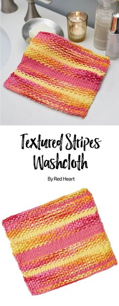 Textured Stripes Washcloth free knit pattern in Scrubby Smoothie yarn. 100% cotton dishcloth.