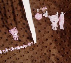 Pink Teddy Bear Clothes Line Minky Blanket and Burp Cloth Set