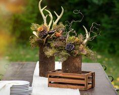 Deer Antler Crafts, Antler Wreath, Antler Art, Fall Floral Arrangements, Floral Centerpieces, Masculine Centerpieces, Wedding Centerpieces, Antler Wedding Decor, Deer Wedding