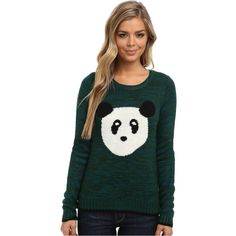 Yumi Knitted Jumper With Panda Face Intarsia Women's Sweater, Green ($33) ❤ liked on Polyvore featuring tops, sweaters, green, jumpers sweaters, long sleeve pullover sweater, panda sweater, green pullover and green top
