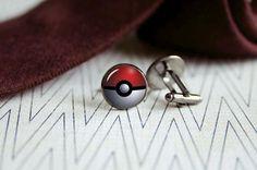 Pokemon cufflinks Pokeball cuff links Men by SummerAfterglow, $12.00