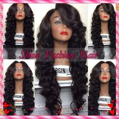 Online Shop Best Lace Front Wigs Unprocessed Virgin Hair Malaysian Body Wave Full Lace Wigs Glueless Lace Front Human Hair Wigs With Bangs Black Curly Hair, Long Wavy Hair, Maquillage Black, Natural Hair Styles, Long Hair Styles, Wigs With Bangs, My Hairstyle, Synthetic Lace Front Wigs, Synthetic Wigs
