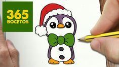 COMO DIBUJAR UN PINGUINO PARA NAVIDAD PASO A PASO: Dibujos kawaii navideños - How to draw a Penguin - YouTube