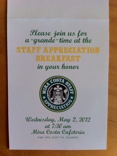 Staff appreciation invitation. Join us for a Grande time.