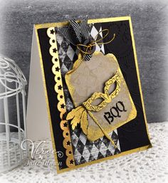 handmade Halloween card .. Masquerade Mojo ... sophisticated look in black, kraft and white with gold adornments ...