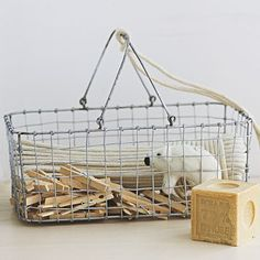 Our Wire Mesh Storage has a French countryside feel, but becomes thoroughly modern when used to hold toiletries, bath linens or extra toilet paper.