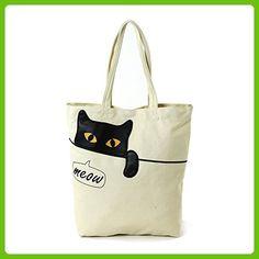 Peeking Black Cat Meow Canvas Tote Bag Beige
