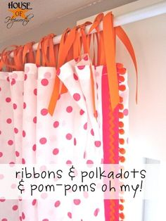 Polkadot pom-pom curtains tutorial.  Ikea curtain hack.  Cheap curtain rod tutorial as well.  @ houseofhepworths.com