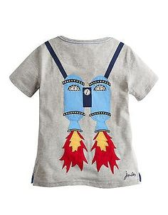 Joules Classic Jnrarchie Boys Jersey Applique T shirt in Grey Marl