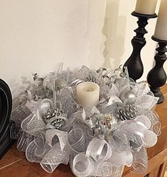 Winter wonderland candle arrangement(candle not included)/White candle arrangement/Pinecone arrangement Winter Wonderland Decorations, Silver Christmas Decorations, Winter Wonderland Christmas, Christmas Mesh Wreaths, Christmas Candles, Christmas Centerpieces, Christmas Crafts, Silver Ornaments, Elegant Christmas Decor